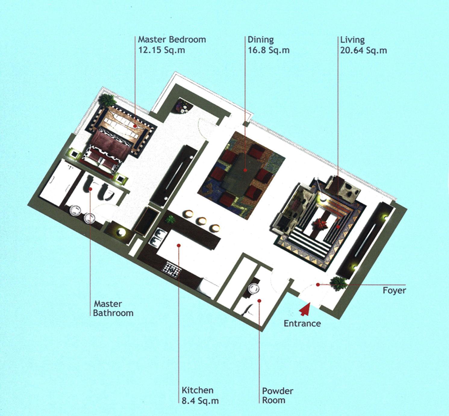 Rak Tower Floor Plan 1 Bedroom Flat Type A