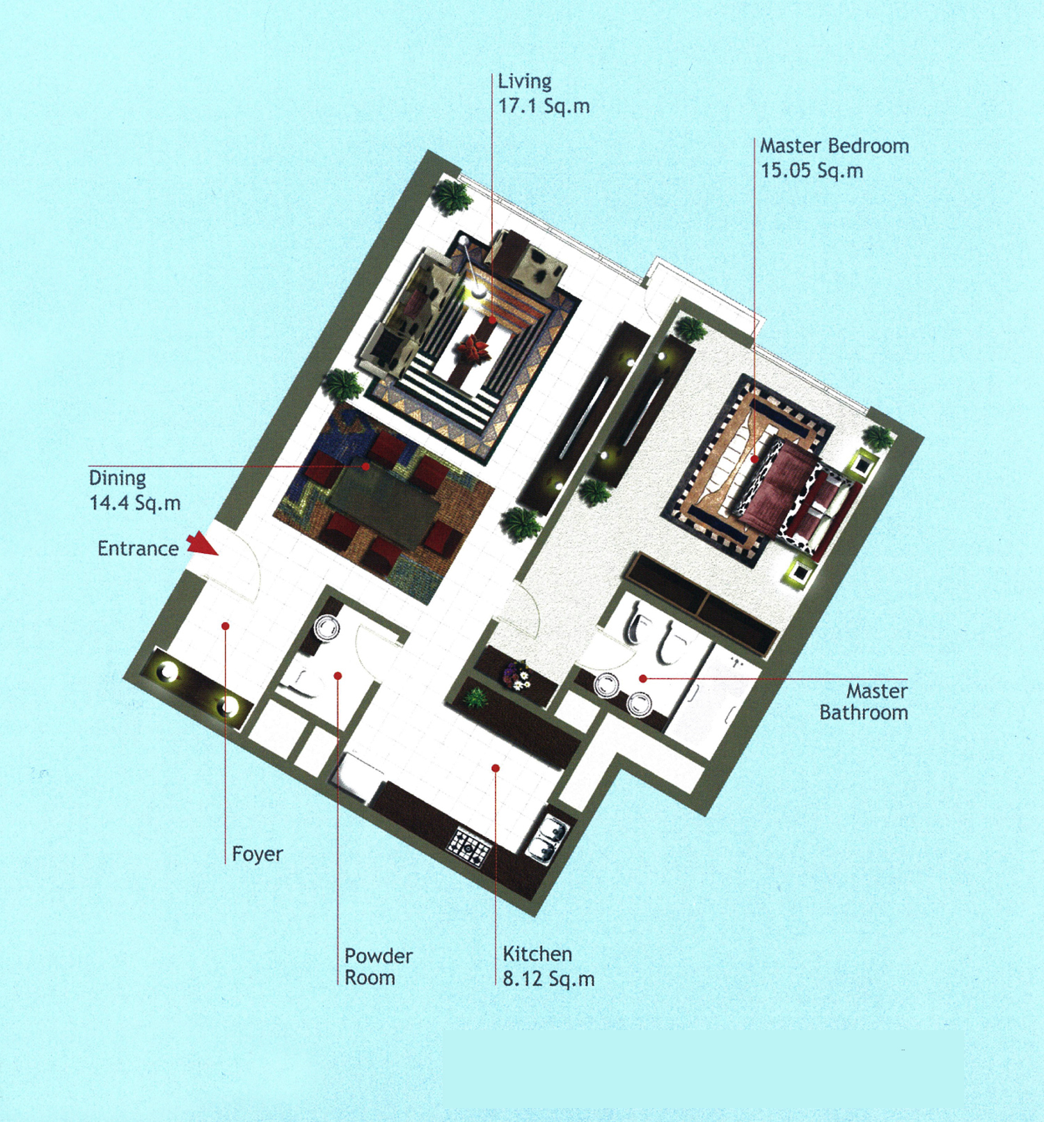 Rak Tower Floor Plan 1 Bedroom Flat Type B