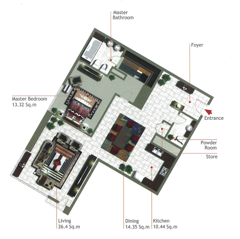 Rak Tower Floor Plan 1 Bedroom Flat Type C