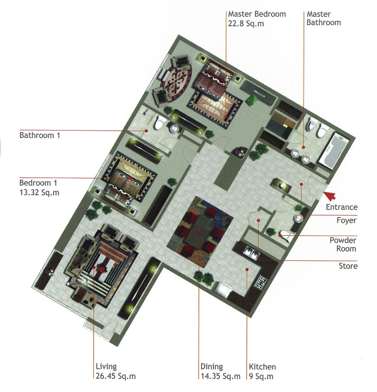 Rak Tower Floor Plan 2 Bedroom Flat Type D