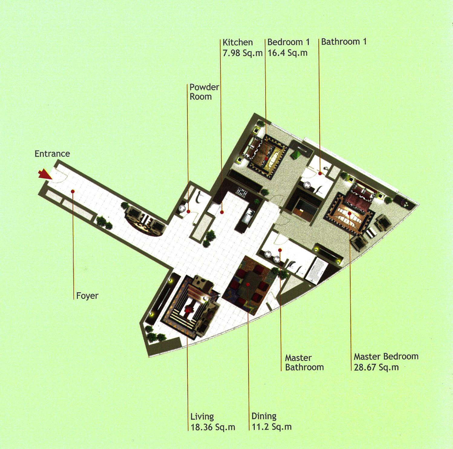 Rak Tower Floor Plan 2 Bedroom flat Type F