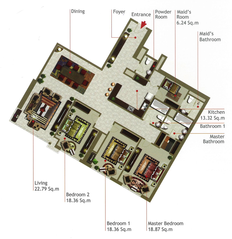 Rak Tower Floor Plan 3 Bedroom Flat Type C