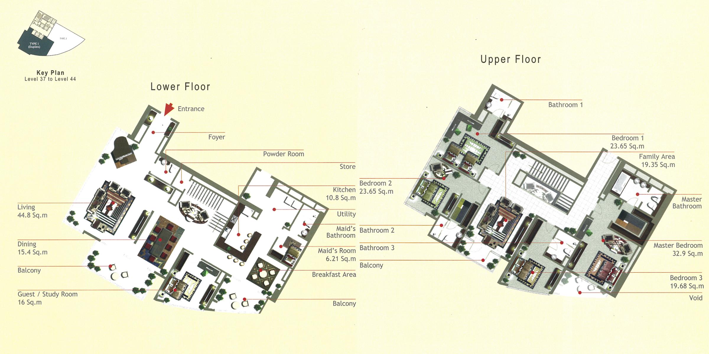 Rak Tower Floor Plan 4 Bedroom Flat Type I