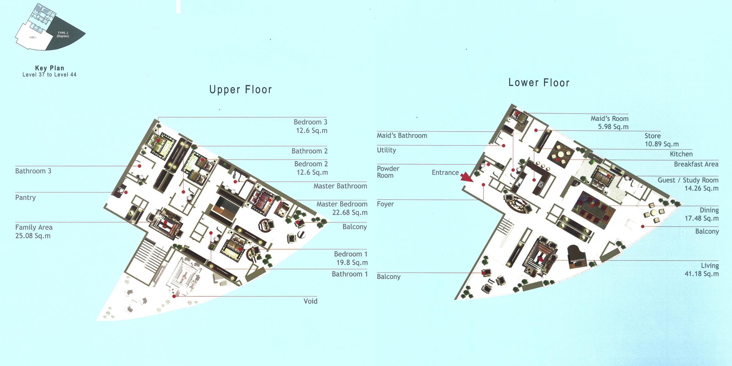 Rak Tower Floor Plan 4 Bedroom Flat Type J