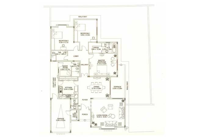Sas Al Nakhl Village Floor Plan 3 Bedroom Villa Type c2