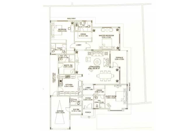 Sas Al Nakhl Village Floor Plan 3 Bedroom Villa Type c3