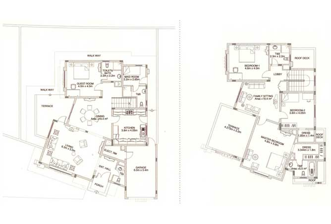 Sas Al Nakhl Village Floor Plan 4 Bedroom Villa Type b1