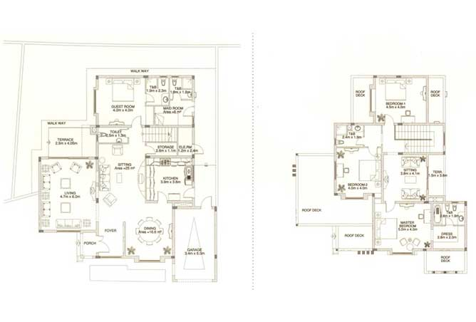 Sas Al Nakhl Village Floor Plan 4 Bedroom Villa Type b4