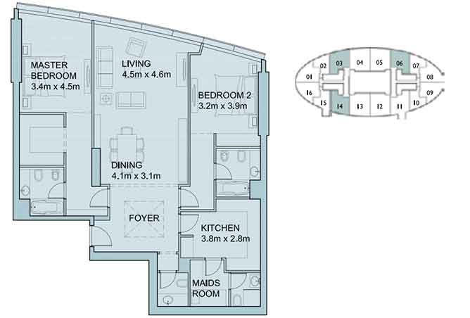 Sky Tower Floor Plan 2 Bedroom Apartment 1461 Sqft