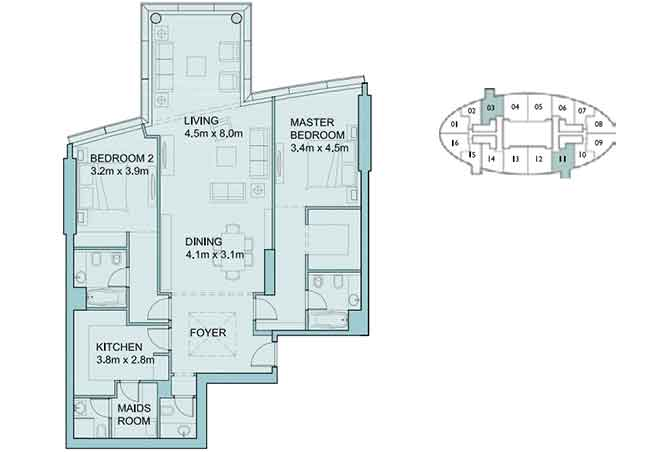 Sky Tower Floor Plan 2 Bedroom Apartment 1651 Sqft