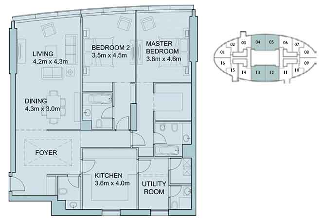 Sky Tower Floor Plan 2 Bedroom Apartment 1719 Sqft