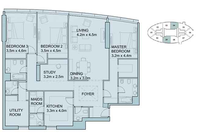 Sky Tower Floor Plan 3 Plus 1 Bedroom Apartment 2106 Sqft Type 1