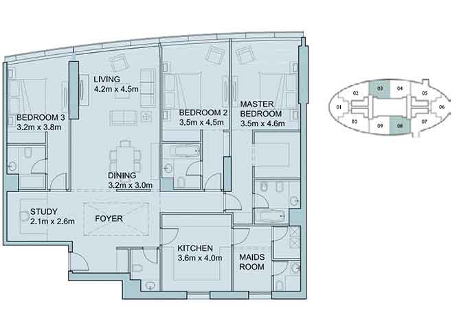 Sky Tower Floor Plan 3 Plus 1 Bedroom Apartment 2106 Sqft Type 2