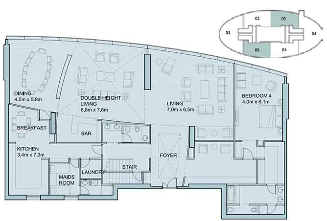 Sky Tower Floor Plan 4 Bedroom Penthouse Duplex 6025 Sqft Type 1