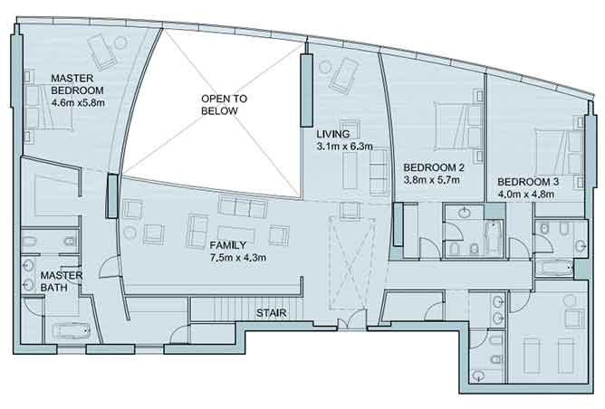 Sky Tower Floor Plan 4 Bedroom Penthouse Duplex 6025 Sqft Type 2