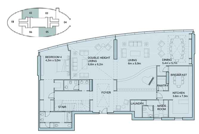 Sky Tower Floor Plan 4 Bedroom Penthouse Duplex 6056 Sqft Type 1
