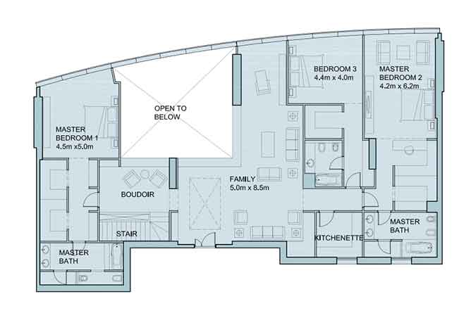 Sky Tower Floor Plan 4 Bedroom Penthouse Duplex 6056 Sqft Type 2