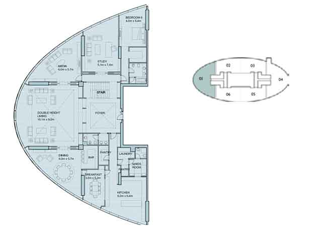 Sky Tower Floor Plan 6 Plus 1 Bedroom Apartment 8562 Sqft Type 1