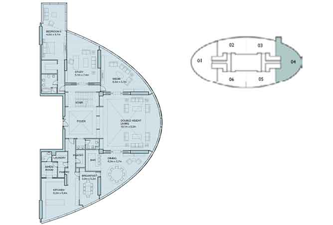 Sky Tower Floor Plan 6 Plus 1 Bedroom Penthouse Duplex 8906 Sqft Type 1