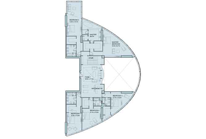 Sky Tower Floor Plan 6 Plus 1 Bedroom Penthouse Duplex 8906 Sqft Type 2