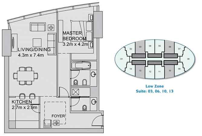 Sun Tower Floor Plan 1 Bedroom Apartment 970 Sqft