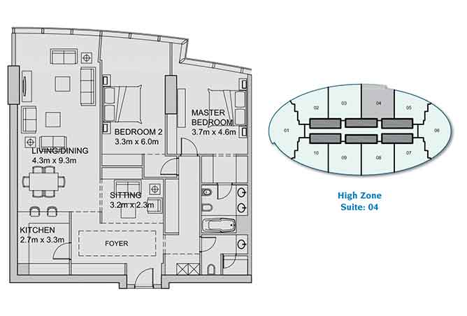 Sun Tower Floor Plan 2 Plus 1 Bedroom Apartment 1663 Sqft