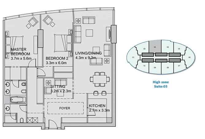 Sun Tower Floor Plan 2 Plus 1 Bedroom Apartment 1699 Sqft