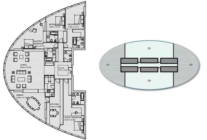 Sun Tower Floor Plan Penthouse 3542 Sqft