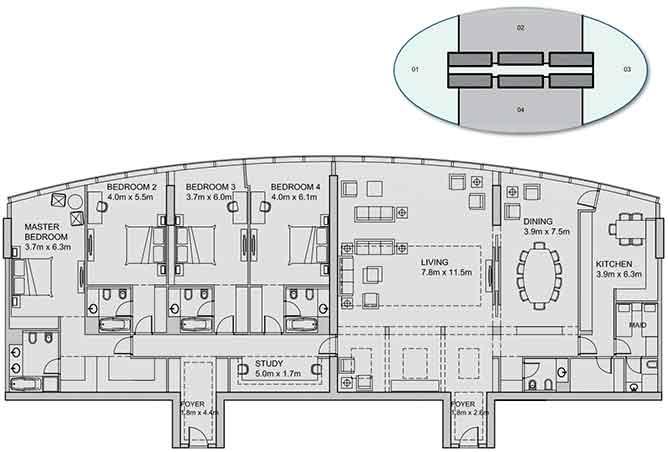 Sun Tower Floor Plan Penthouse 4154 Sqft