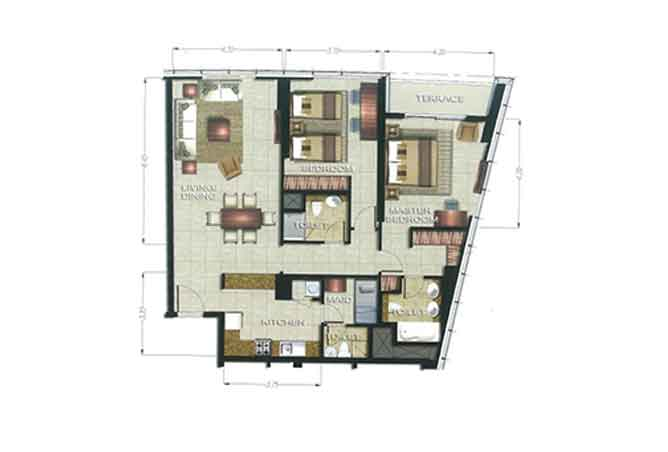 The Arc Floor Plan 2 Bedroom Apartment 1670 Sqft
