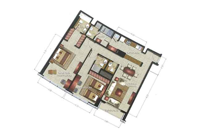 The Arc Floor Plan 2 Bedroom Apartment 1762 Sqft