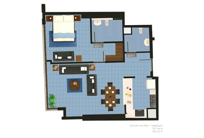 The Wave Floor Plan 1 Bedroom Apartment 815 Sqft