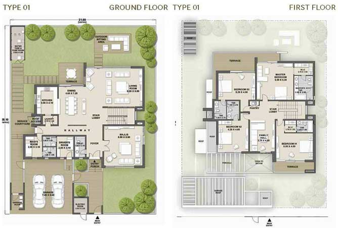 West Yas Floor Plan Villa Type 1a