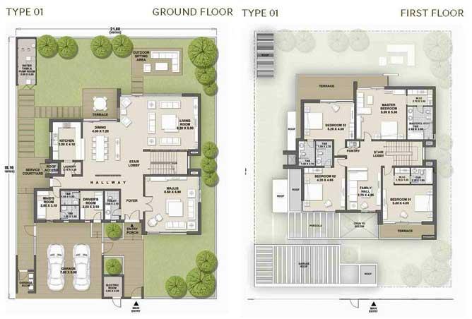 West Yas Floor Plan Villa Type 1b