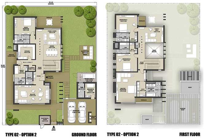 West Yas Floor Plan Villa Type 2a