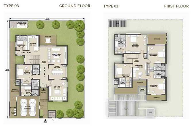 West Yas Floor Plan Villa Type 3a