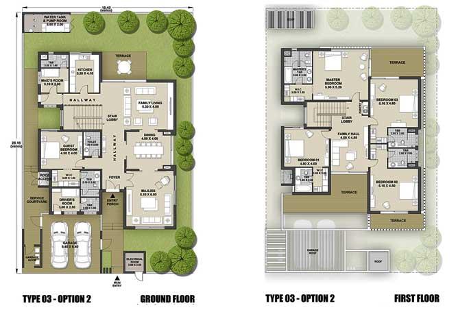 West Yas Floor Plan Villa Type 3b