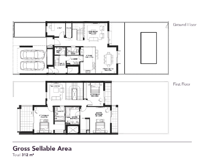 Yas Acres Floor Plan 3 Bedroom Townhouse Type MA