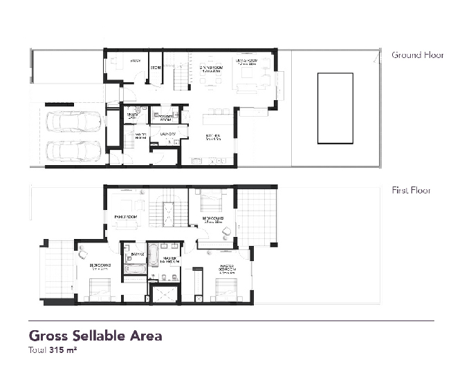 Yas Acres Floor Plan 3 Bedroom Townhouse Type MB