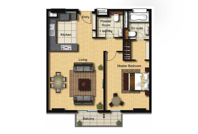 Al Barza Floor Plan 1 Bedroom Apartment Type 1b 850 Sqft
