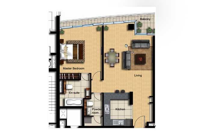 Al Barza Floor Plan 1 Bedroom Apartment Type 1c 958 Sqft