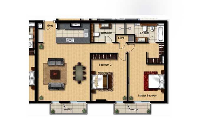 Al Barza Floor Plan 2 Bedroom Apartment Type 2a 1378 Sqft