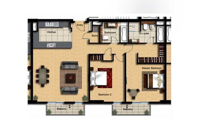 Al Barza Floor Plan 2 Bedroom Apartment Type 2b 1389 Sqft