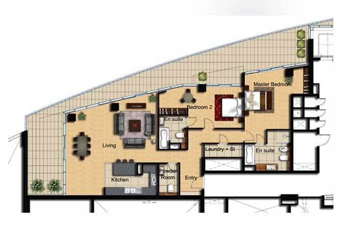 Al Barza Floor Plan 2 Bedroom Apartment Type 2c 1518 Sqft