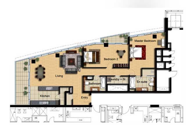 Al Barza Floor Plan 2 Bedroom Apartment Type 2d 1604 Sqft
