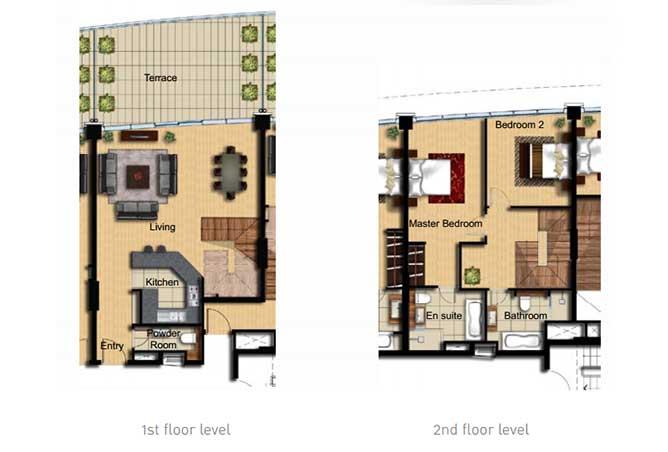 Al Barza Floor Plan 2 Bedroom Apartment Type 2f 1604 Sqft
