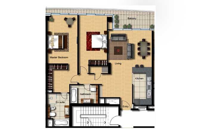 Al Barza Floor Plan 2 Bedroom Apartment Type 2i 1389 Sqft