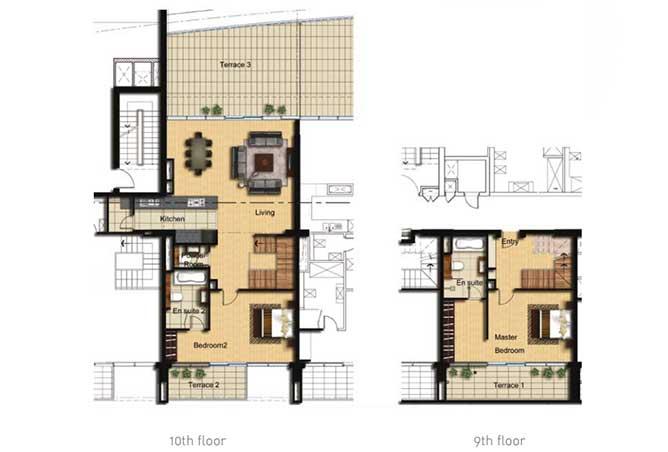 Al Barza Floor Plan 2 Bedroom Apartment Type 2k 2002 Sqft