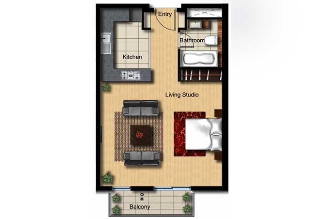 Al Barza Floor Plan Studio Apartment Type 1a 592 Sqft