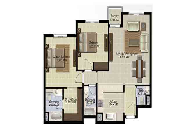 Al Ghadeer Floor Plan 2 Bedroom Apartment Type k2 1029 Sqft
